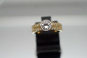 Goldschmiede Brillant Ring,Damenring,18 Kt GGold,0,70 ct feiner Brillant,750er