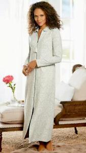 Soft Surroundings Women's Size M Petite Chamonix Zip Front Robe Caftan Grey