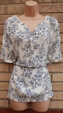 BM WHITE BLUE FLORAL HALF BUTTONED GYPSY BAGGY BLOUSE TUNIC TOP T SHIRT 18