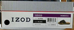 New IZOD Black Criss Cross Slide Sandals Alyssa Size 8