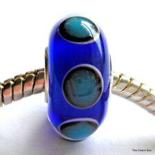 'OCTOPUS' - Blue with Spots Murano Glass European Bracelet Bead