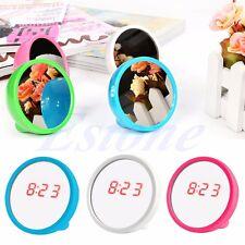 Portable Voyage Mini Miroir Pendule Table LED Numérique Ecran Affichage Alarme