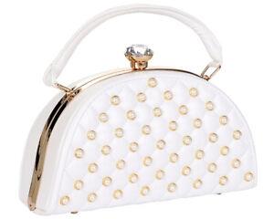 White Jewel Top Metal Frame Pearl Design Satchel Handbag