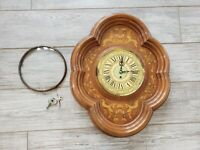 Vintage English 7 Day Mahogany Cherry Wall Clock German Case 1950's glass dome
