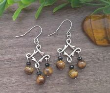 Natural TIGERS EYE Gemstone On Silver Tone Lucky Knot Dangle Earrings