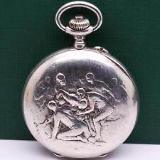 1900's ULYSSE NARDIN CHRONOGRAPH RUGBY SCENE 0.900 SOLID SILVER POCKET WATCH