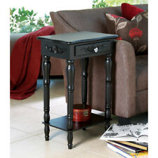 COLONIAL CARVED SIDE END TABLE NIGHTSTAND BLACK ELEGANT LIVING ROOM DECOR