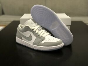 NEW WMNS NIKE AIR JORDAN 1 LOW WOLF GREY ICY SOLE RETRO DC0774-105 SIZE 6.5 - 10