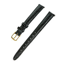 12mm Ladies Black Lizard Grain Padded Leather Watch Band / Watch Strap