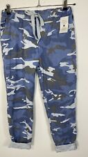 Cropped Pants Magic Pants Super Stretchy Camouflage Blue Capri's Fits 18-24 Soft