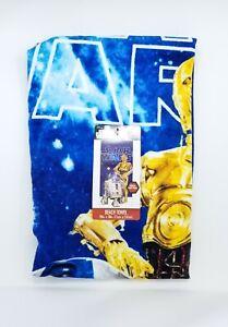 Star Wars R2-D2 C-3PO Droid Robot Space Blue Beach Towel 28 x 58 100% Cotton NWT