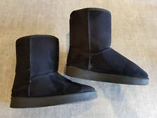 Size 4 (37) black faux suede fur lined ankle boots