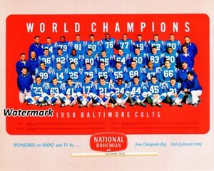 1958 NFL World Champion Baltimore Colts Color Team Picture 8 X 10 Photo Picture