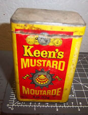 older Keens Mustard 4 oz spice tin, paper label, Canada made, great colors
