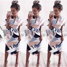 UK Women Short Sleeve Midi Dress Summer Holiday Floral Print Party Prom Dresses Pink XXS