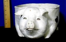 """LARGE FOLK ART PLASTER PIG BOWL FIGURE 19 1/2"""" LONG RARE"""