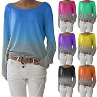 Womens Shirt Loose Blouse Pullover Tee Ombre Ladies Boyfriend Long Sleeve Tops