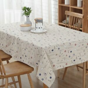 """Enovaus 54""""x 72"""" Natural Simple Rectangle Cotton and Linen Washable Tablecloth"""