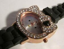 Kitty Cat watch with black silicon wristband- Inventory #603