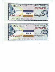 TRAVELERS CHECK  SPECIMEN  ARAB FINANCIAL SERVICES  500  & 1000$   UNC