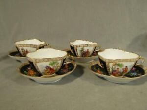 4 ANTIQUE RICHARD KLEMM DRESDEN QUATREFOIL BLACK TEA CUPS & SAUCERS - COUPLES