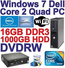 Windows 7, DELL, Core 2 Quad PC DESKTOP COMPUTER - 16GB DDR3 - 1000GB HDD-Wi-Fi