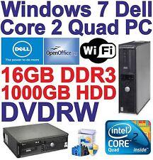 Windows 7 Dell Core 2 Quad Desktop PC Computer - 16GB DDR3 - 1000GB HDD - Wi-Fi