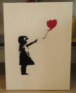 Pochoir Street Art Dismaland Banksy sur toile Little girl and heart 30x40cm