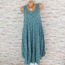 MADE IN ITALY Hängerchen Kleid Sommerkleid Blümchen Mille Fleur rauchgrün 40-44