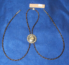 Braided Horsehair Bolo Bronco Rider Cowboy Concho Brown & Blonde 02