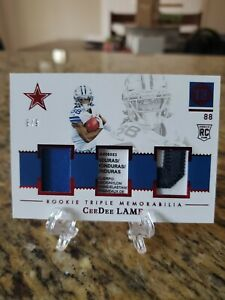2020 Panini Encased CeeDee Lamb Rookie Triple Memorabilia 6/9 SP RC