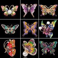 Charm Women Breastpin Teardrop Crystal Pearl Animal Butterfly Brooch Pin Jewelry