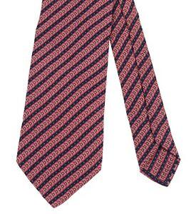 Brioni Roma Navy Blue & Red Medallion Striped & Polka Dot 100% Silk Tie