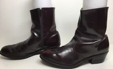MENS UNBRANDED SHORT COWBOY LEATHER BURGUNDY BOOTS SIZE 9 D