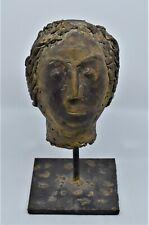 Large Brass Bust Head on stand Signed Sculpture statue, folk art