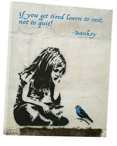 Banksy Quote Graffiti Girl With Blue Bird Reprint On Franmed Canvas Wall Decor