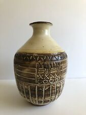 SIGNED ORCAS ISLAND POTTERY Vase EARLY 1950-1960 RARE Sgraffito Decoration