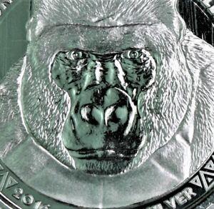 2016 1 oz .999 SilverBack Gorilla Congo Scottsdale BU in capsule-Gorgeous  #672