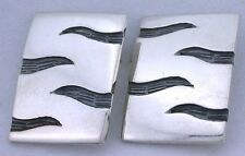 Rectangle Abstract Wing Flight Pure .925 Sterling Silver Post Earrings ebs5119