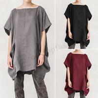 Women Batwing Short Sleeve Summer T-Shirt Tops Oversize Asymmetrical Blouse Plus