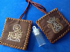 Rare Brown Wool SCAPULAR with HOLY WATER Bottle Embroidered Mary's Promise