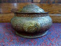 Antique Old Vintage Chinese Copper brass pot offertory vessel urn Lion Foo dogs