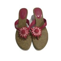 Fioni Womens Slip On Sandals Size 6.5 Pink Flower Cork Sole Thong Flip Flop
