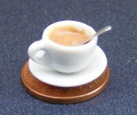 1:12 Scale Tea In A White Ceramic Cup + Spoon & Saucer Dolls House Accessory T1