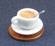 1:12 Scale Tea In A White Ceramic Cup + Spoon & Saucer Tumdee Dolls House T1
