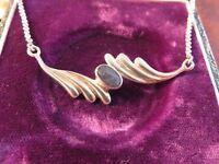 Schönes 925 Silber Collier Kette Erbsenkette Flügel Blau Indianer Hippie Goa Psy
