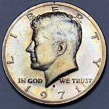 1971-S KENNEDY HALF DOLLAR PROOF DEEP GREEN GEM TONED COLOR UNC BU STUNNING (DR)