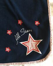 Lambs And Ivy Sports All Star Baby boy Blanket Red white Blue Stars plaid