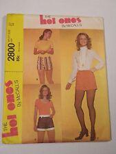 Mc-2800 Vintage 70s Short Shorts Sewing Pattern McCall's Waist 27 Hip 38