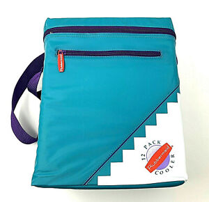 """Vintage Rubbermaid 12 Pack Can Soft Side Nylon Cooler w Strap Teal Purple 11""""x9"""""""